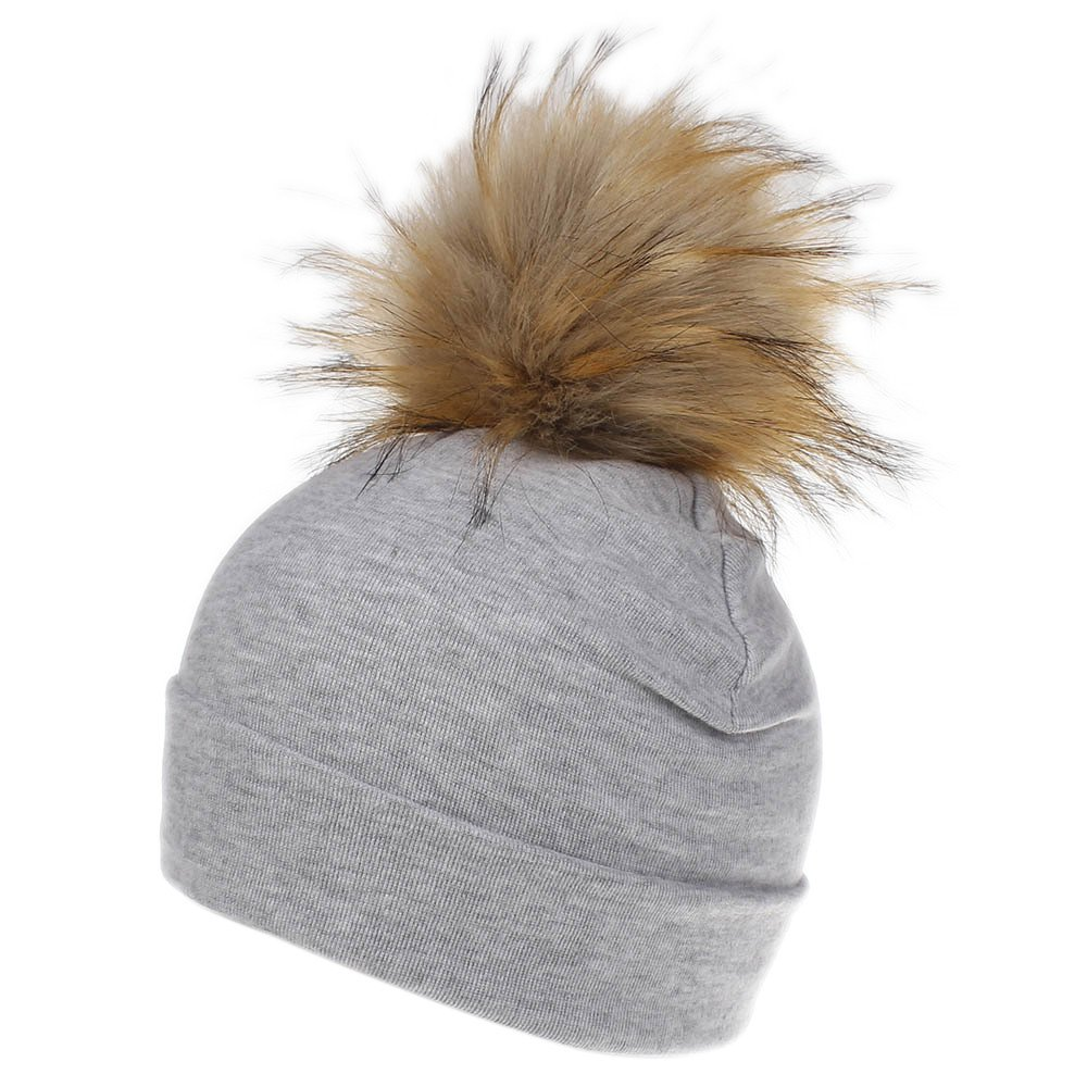 WARMSHOP Baby Girls Boys Pure Cotton Hats with Real Fur Pom Pom Fall Winter Warm Beanie Sleep Hospital Caps