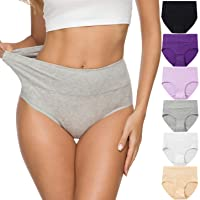 ALTHEANRAY Womens Underwear Cotton Briefs - High Waist Tummy Control Panties for...
