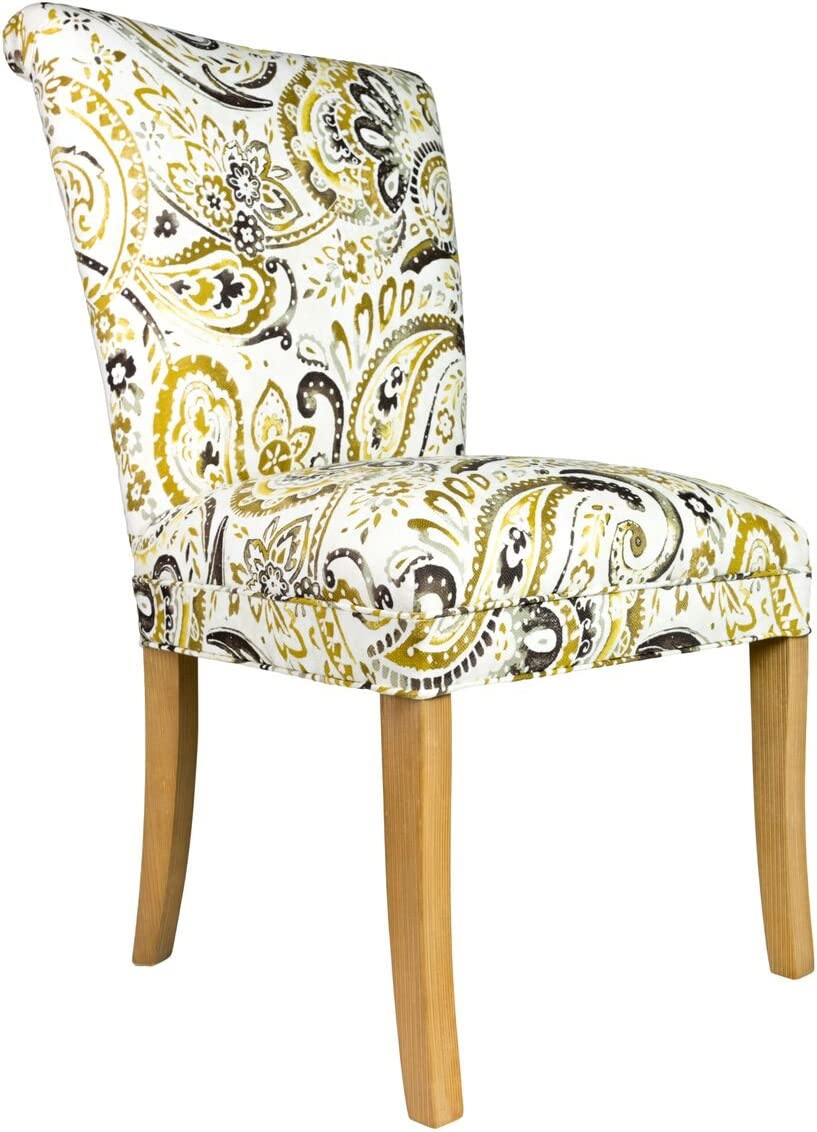 Sole Designs The Barcelona Collection Contemporary Style Fabric Upholstered Armless Dining Side Chairs Set of 2 , Mustard and White
