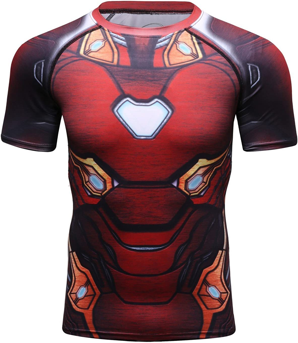 Red Plume Mens Dri-Fit Compression Short Sleeve Shirts Running Tee Base Layer Tops