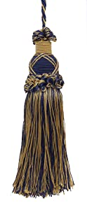 DÉCOPRO Decorative 5.5 Inch Key Tassel, Dark Navy Blue, Gold Imperial II Collection Style# KTIC Color: Navy Gold - 1152