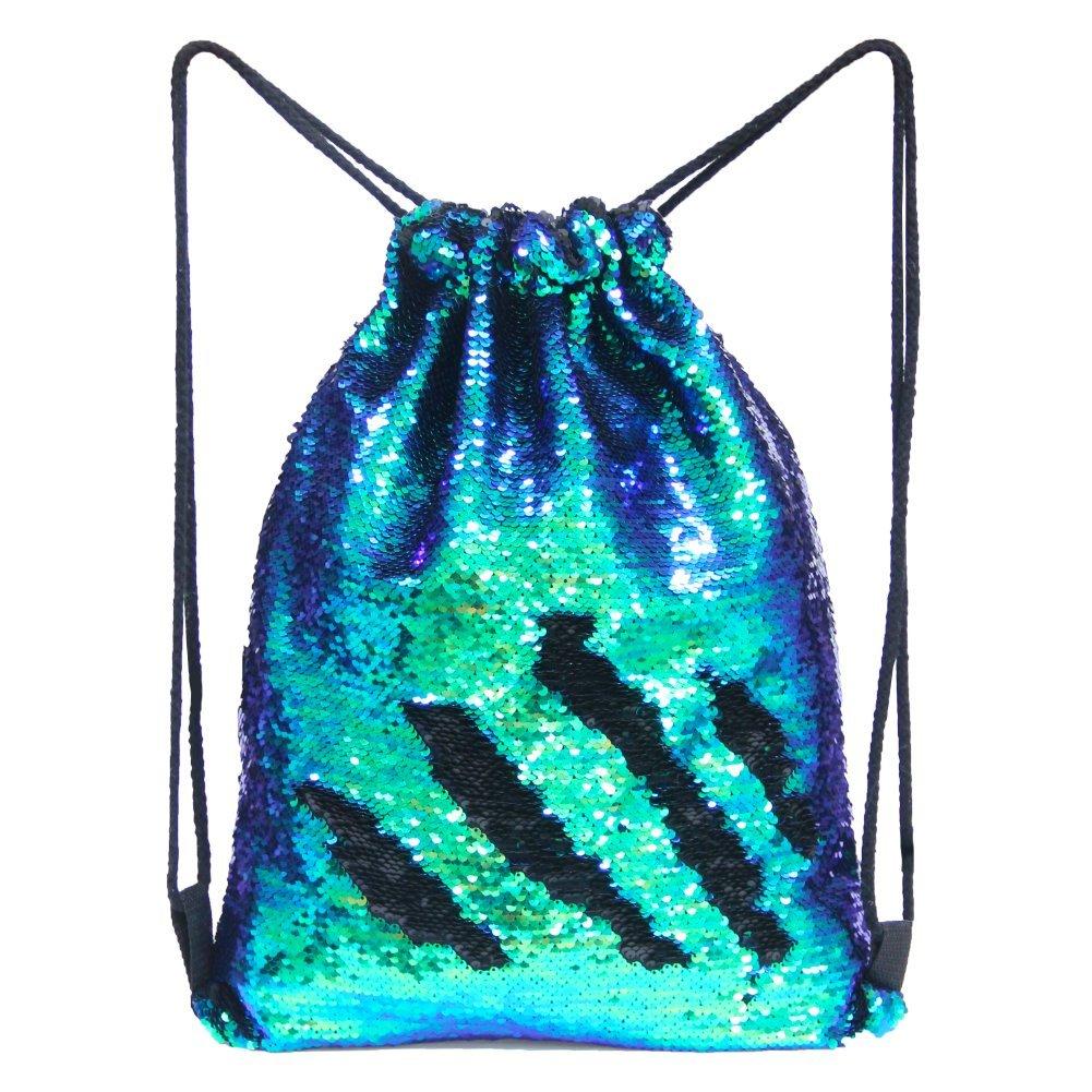 colorful GreenBlack Basumee Unicorn Mermaid Sequin Bag Reversible Sequins Drawstring Backpacks, Flower Unicorn