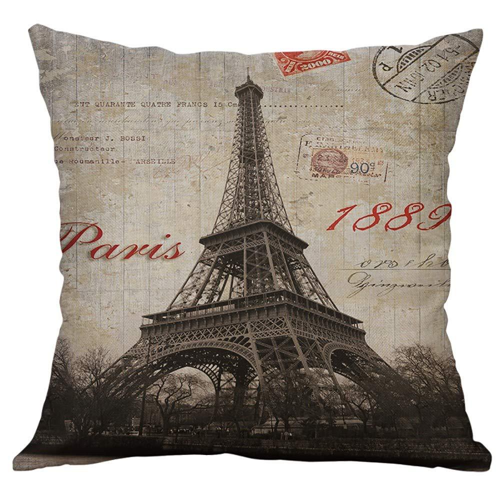 Eiffel Tower Cotton Linen Pillow Case Sofa Waist Throw Cushion Cover Home Decor
