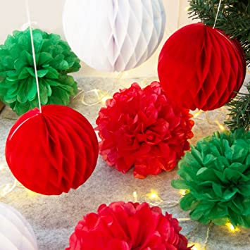 Violett Blaugr/ün Braun Easy Joy 13er Set Papier Dekoration Kit Lampion-Set Lila Pompoms
