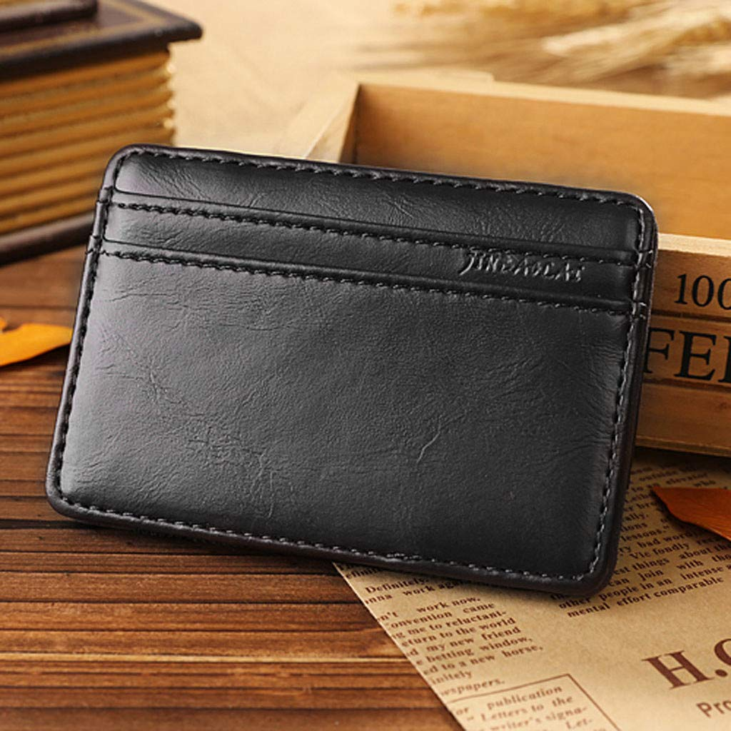 Pandaie Mens Wallet,Retro Men Leather Magic Money Clip Slim Mens Coin Wallet ID Credit Card Package Gifts