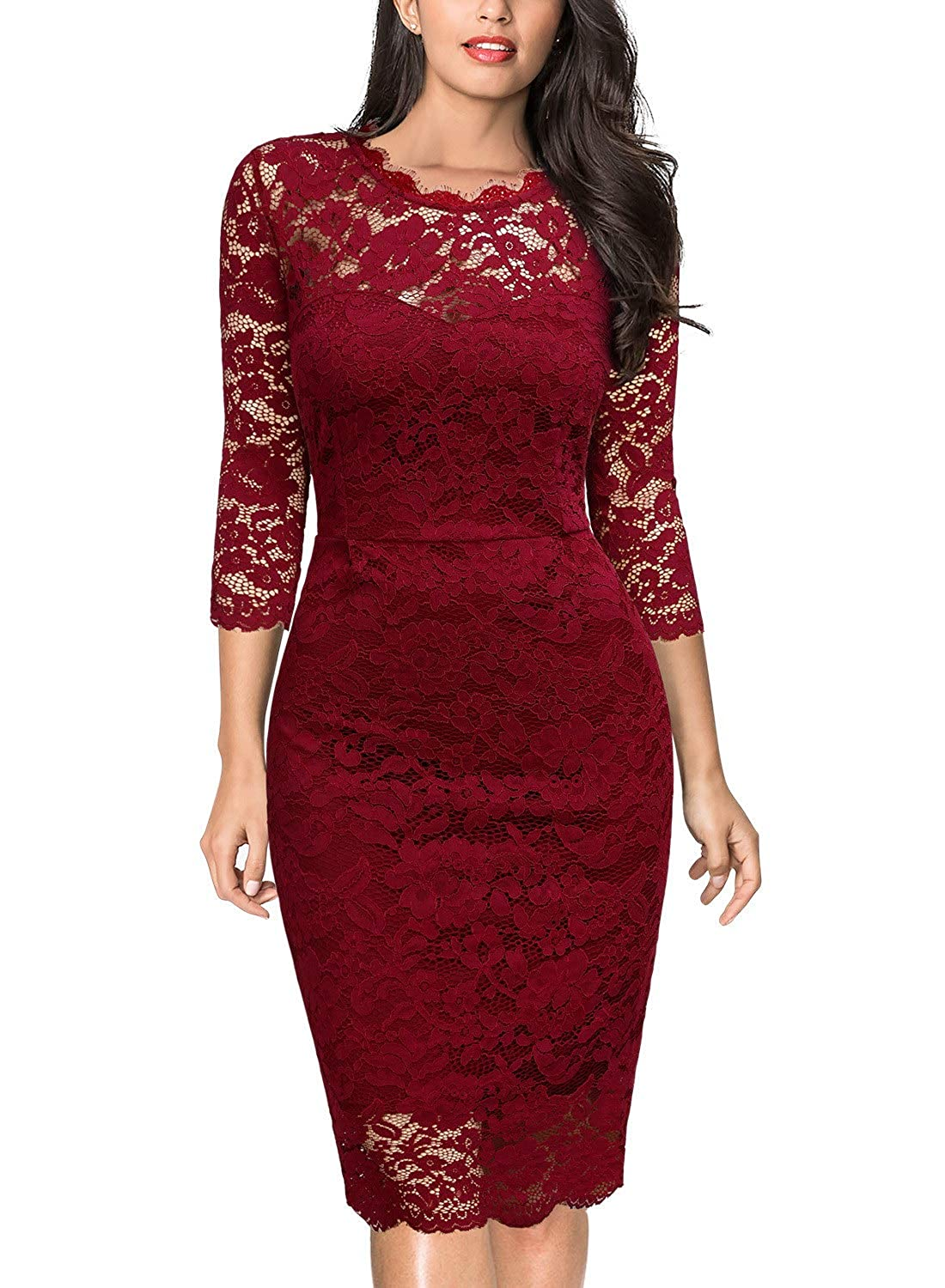 Hred Miusol Women's Retro Floral Lace Long Sleeve Slim Evening Cocktail Mini Dress