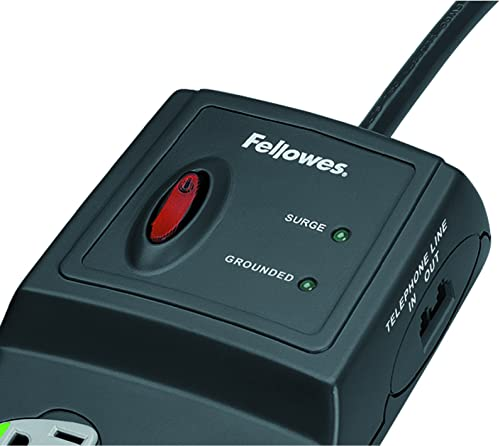 Fellowes Power Guard 10-Outlet Surge Protector with Phone DSL, Coax and Ethernet Protection, 10 Foot Cord, 3,300 Joules 99115