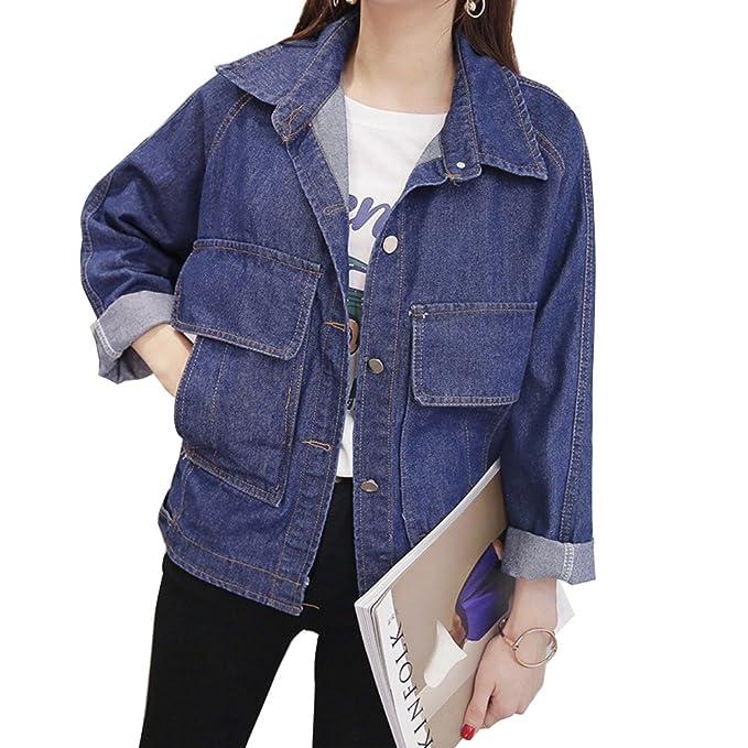 Mujeres Cazadora Vaquera Larga Chaquetas Jacket De Mezclilla Manga Larga Abrigo Denim Jackets Azul Marino L: Amazon.es: Ropa y accesorios