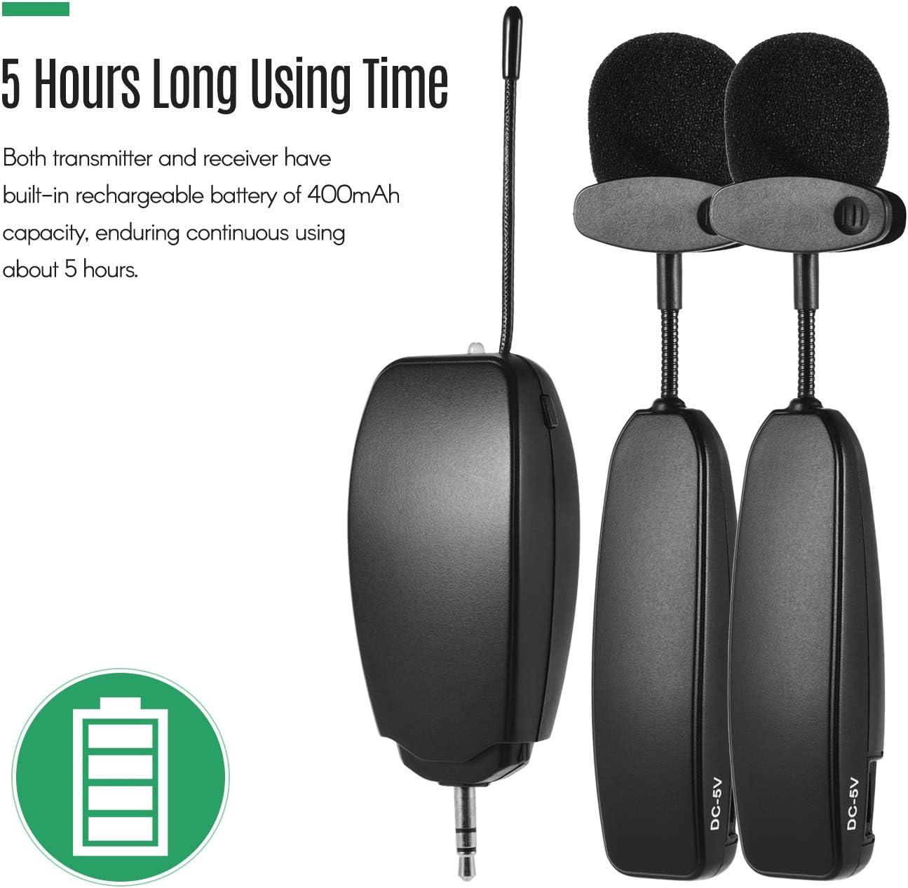 Fesjoy Syst/ème de microphone UHF sans fil 1 /émetteur et 1 r/écepteur instrument de musique cravate micros cravate pour smartphone haut-parleurs dordinateur cam/éras pr/ésentation denseignement