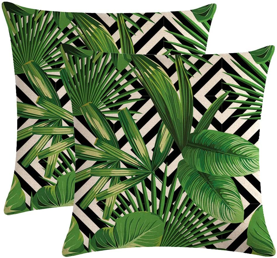 Amazon Com Ulove Love Yourself 2pack Tropical Green Leaves Throw Pillow Cover With Geometric Background Home Decorative Square Cushion Covers Cotton Linen Home Decor Palm Pillowcase 18 X 18 Inch Palm Tree Home