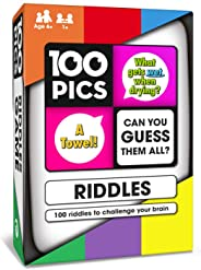 100 PICS Riddles Travel Card Game - Funny Family Word Puzzle Brain Games for Smart Kids and Adults