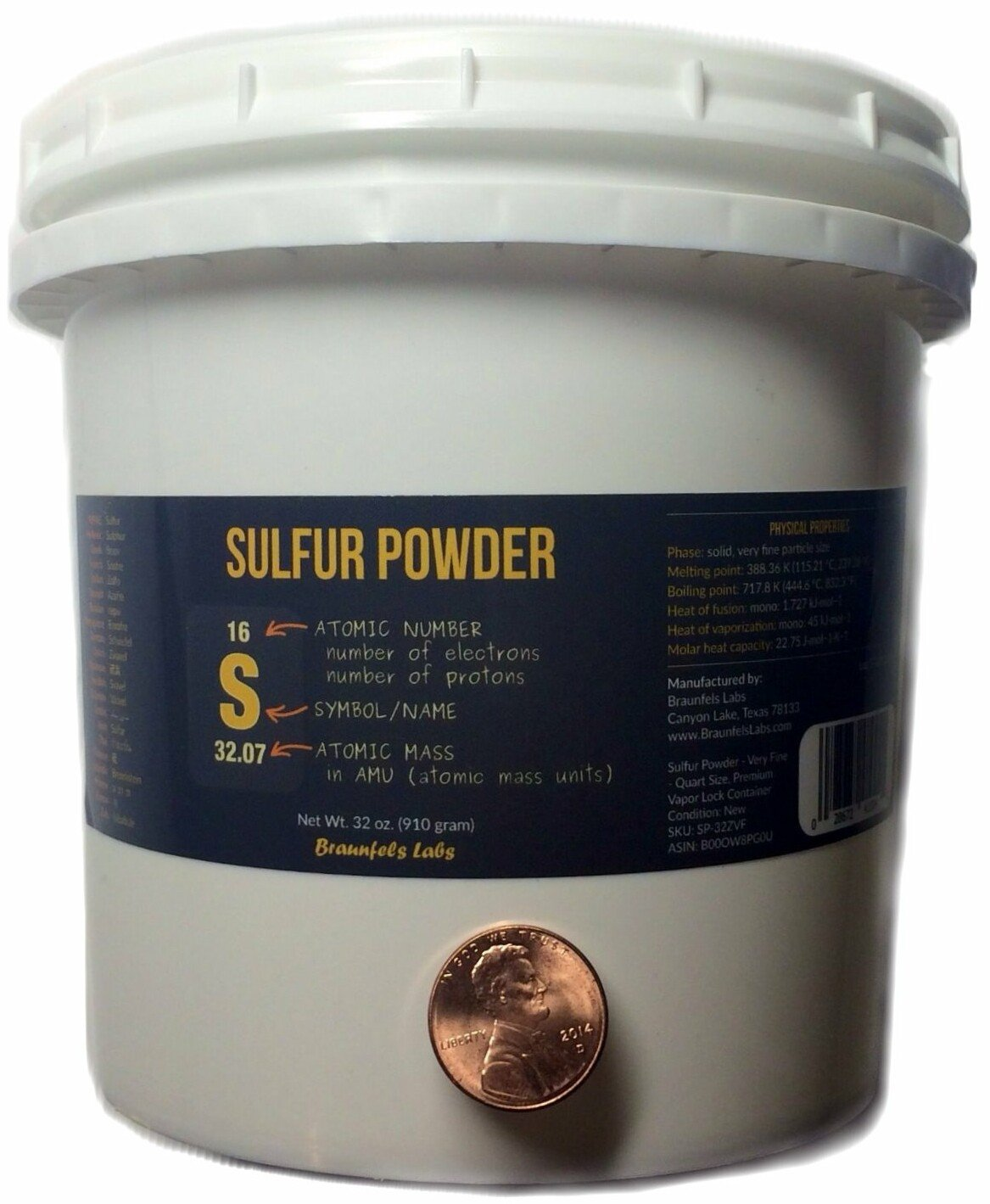 Vapor Lock QUART - Sulfur Powder - Very Fine - Premium, 32 oz - 2 Pounds Braunfels Labs