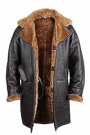 JUST FASHION @ Hombre/Mujer Abrigo Largo de Aviador marrón B3 Cuero Real de guanaina
