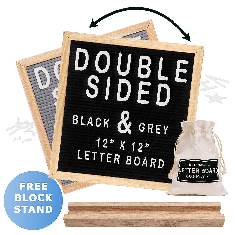 Felt Letter Board 12x12 | Double Sided Letter Board - Gray & Black | Fully Clean Cut Letters, Oak Stand, Large & Small Letters. Felt Board with Clean-Cut Letters, Symbols. Letters Board