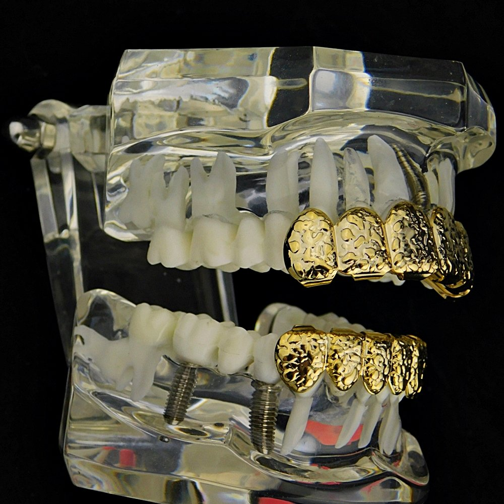 Nugget Grillz Set 14k Gold Plated Top & Bottom Teeth 12 PC Slugs Hip Hop Mouth Grills by Best Grillz (Image #3)