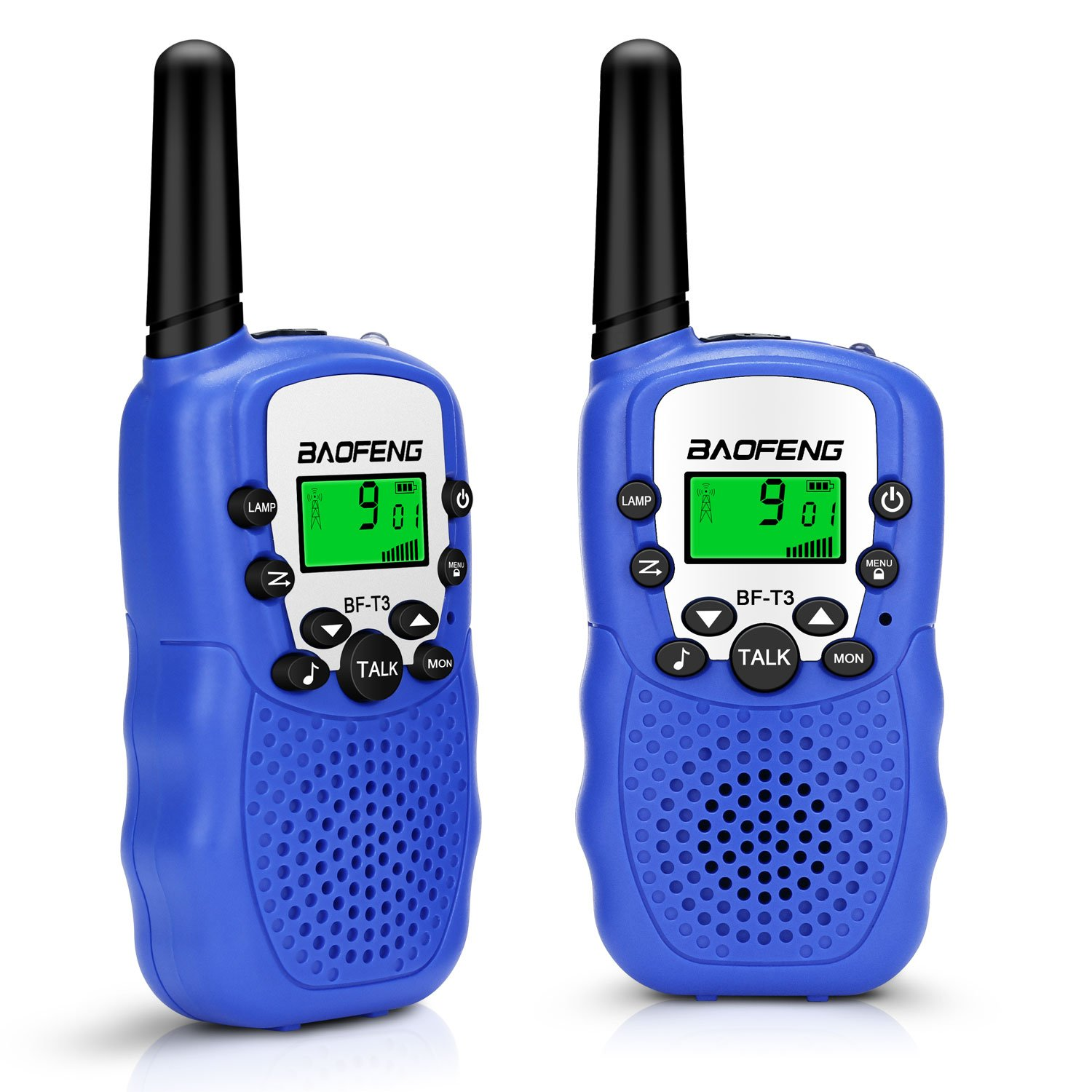 GHB Kids Walkie talkies, 22 Channel Walkie Talkies for Kids, LCD Screen 3 Miles up to 5 Miles FRS/GMRS Updated Screen Lock Function (Pair) (Blue) by GHB