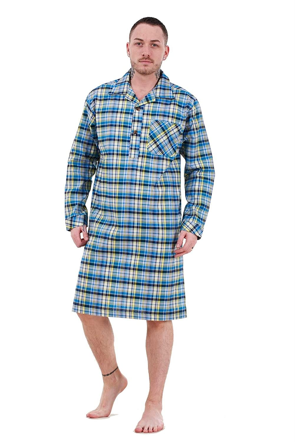 Bay eCom UK Mens Nightshirts Woven Check Cotton Blend Loungewear Regular Big Size M to 5XL Does not Apply