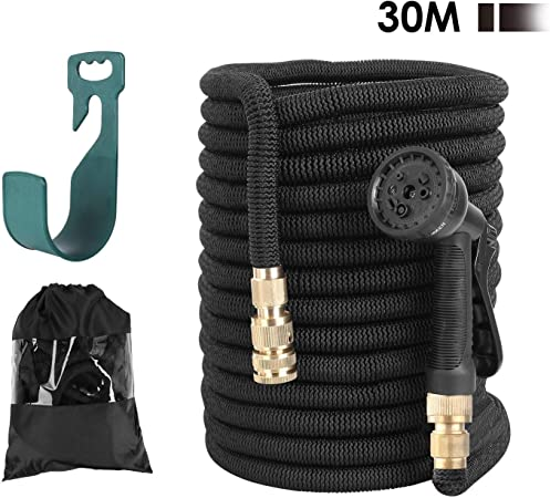 /½ and /¾ Water Pipe Made in 3 Layers of Latex 15M, Black 8 Different Functions Spray with Hose Hanger//Storage Bag Fixkit Garden Hose Expandable Solid Brass Fittings