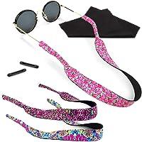 Kalevel 3pcs Neoprene Eyeglass Strap Holders Eyewear Retainer Floating Sunglasses Cord No Tail Glasses Retainer Sports Adjustable Sunglass Lanyard String Holder with Free Gift for Men Women (B Set)