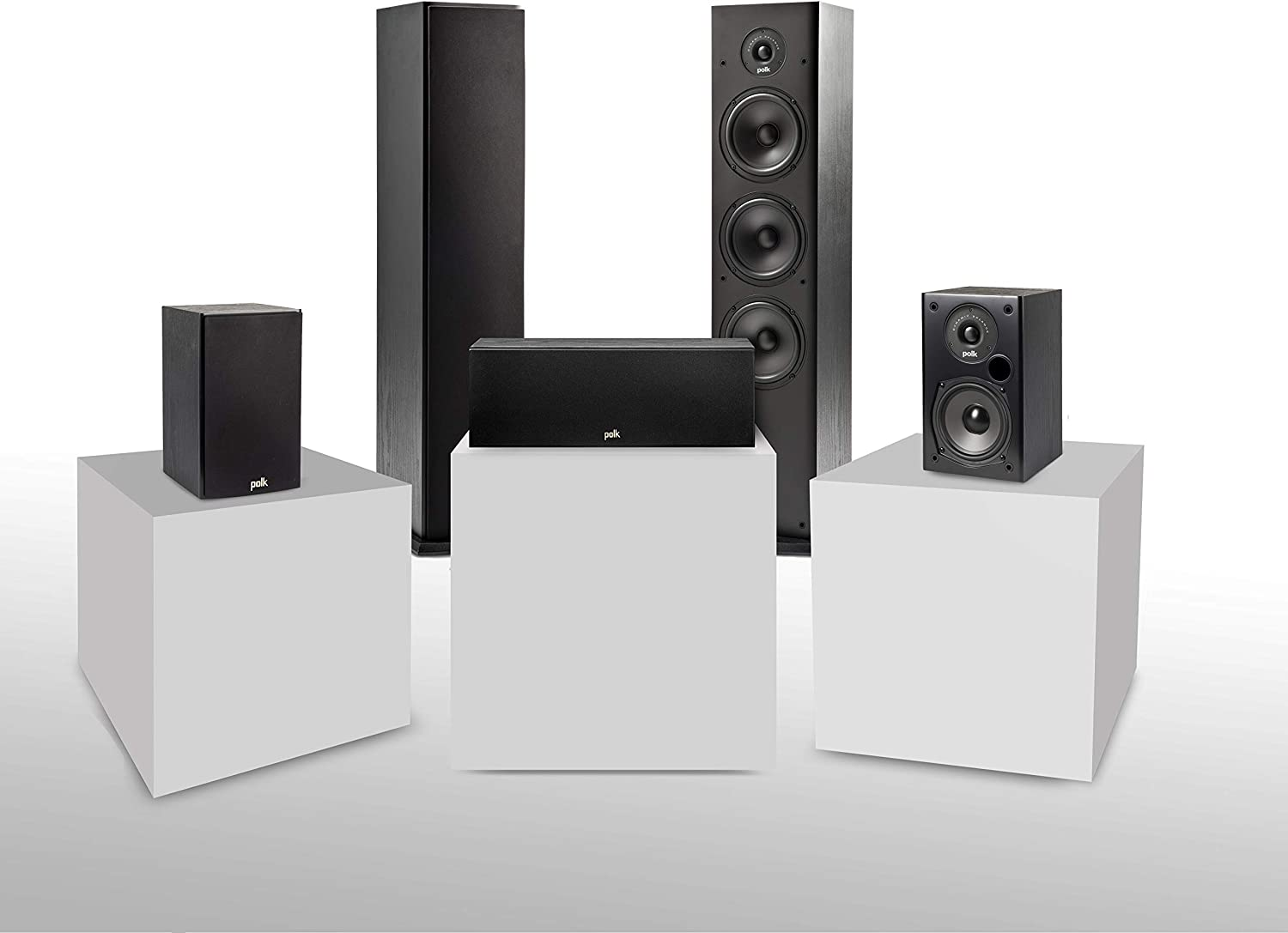 Polk Audio T Series 5 Channel Home Theater Bundle | Includes Two (2) T15 Bookshelf, One (1) T30 Center Channel & Two (2) T50 Tower Speakers | Premium Sound at a Great Value | Dolby and DTS Surround