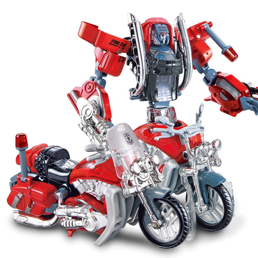 Siyushop Heroes Rescue Bots,5-in-1 Robot Model,Motorcycle, Fire Truck, Big Crane, Excavator, Ambulance, Combat Robot Model,Children's Deformation Toy (Color : Motorcycle)