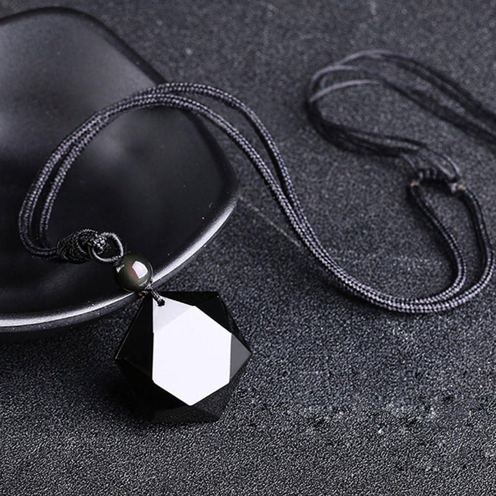 Negro Obsidiana Collar Colgante hexagrama Suerte Amor Mujer Hombre Pareja Regalo