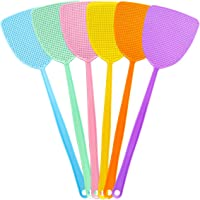 Bottokan Plastic Fly Swatters - Strong Durable Flexible Long Handle Manual Swat Flies and Mosquitoes Striking Fly Swatters Set - Home and Kitchen Helper FlySwatter (6 Pack,6 Multi-Color)