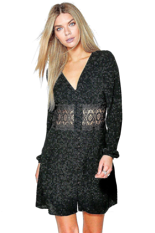 Black Womens Carrey Lace Waist Trim Shirt Dress