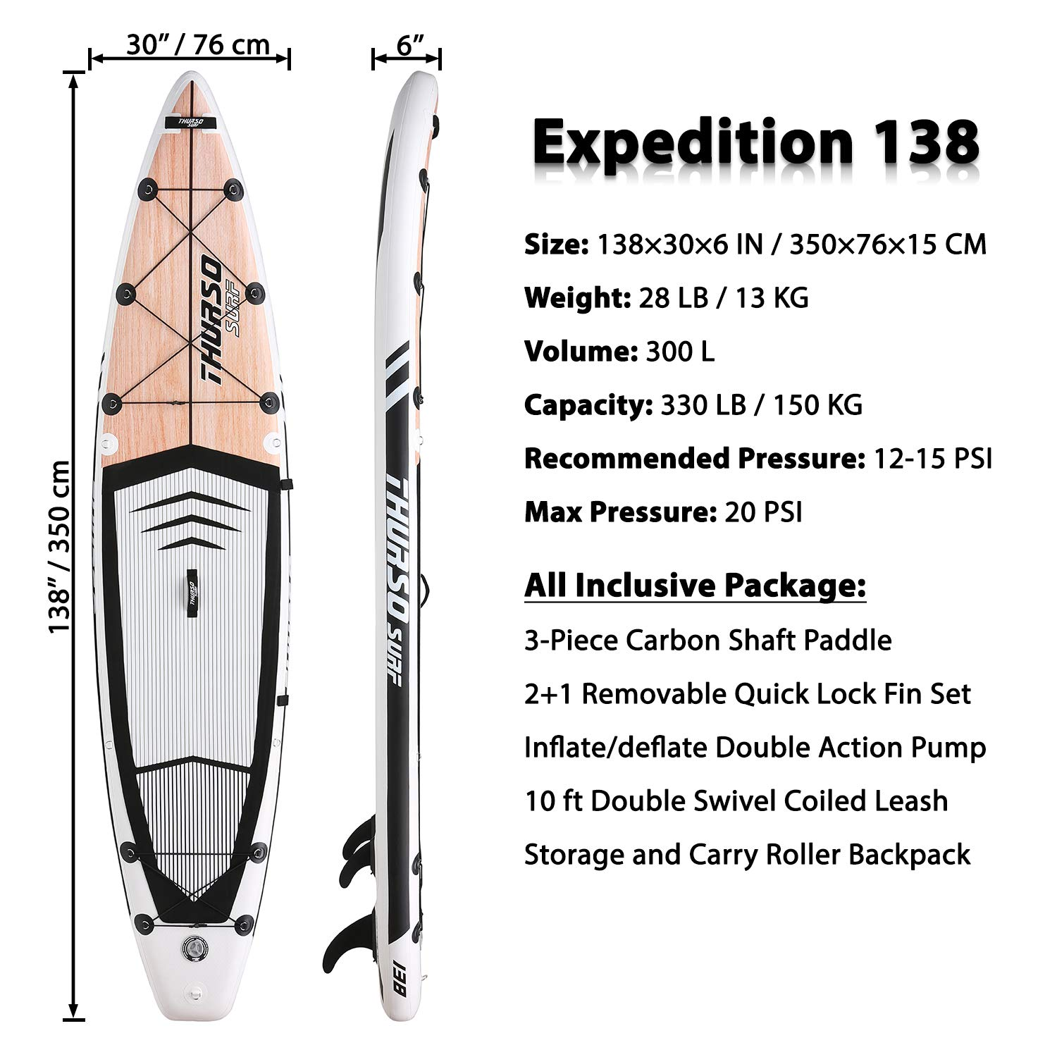 THURSO SURF Expedition Touring Inflatable Stand Up Paddle Board SUP 11 6 x 30 x 6 Two Layer Deluxe Package Includes Carbon Shaft Paddle 2 1 Quick Lock Fins Leash Pump Roller Backpack