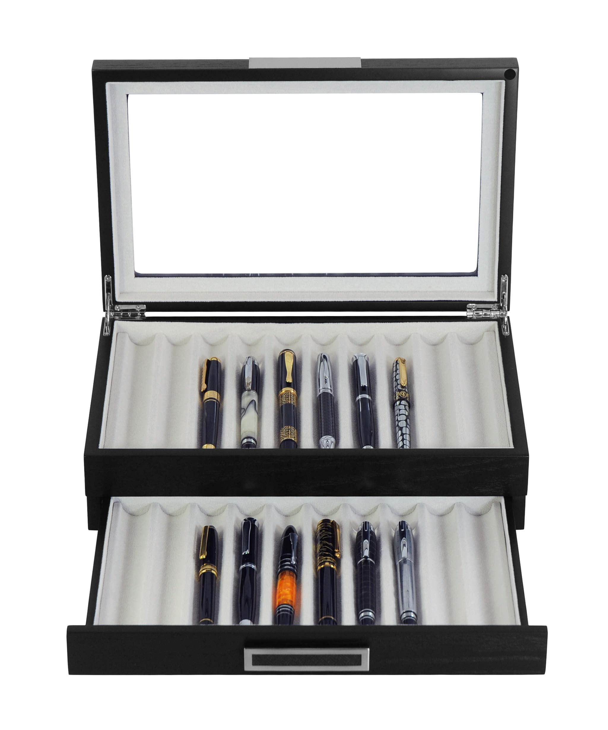 20 Piece Black Ebony Wood Pen Display Case Storage and Fountain Pen Collector Organizer Box with Glass Window Two Level Display Case with Drawer by TimelyBuys