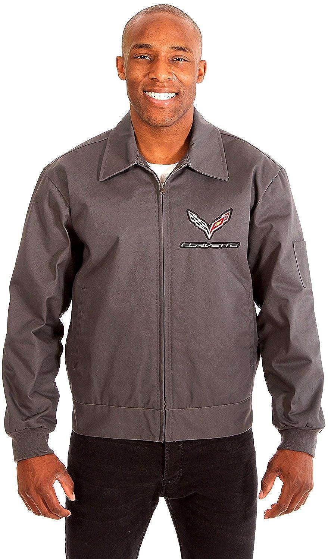 AFC Chevy Corvette Men's Mechanics Jacket Front Chest Emblem in Black Gray Navy COR313EMB6