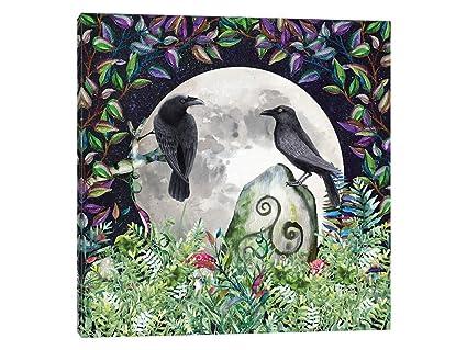 Amazon.com: Canvas Wall Art - Raven Night Moon Magick with Irish ...