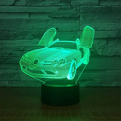 Lights & Lighting New Sports Car 3d Lights Colorful Led Gradual Change Illusion Desk Lamp Touch Remote Control Creative 3d Led Small Table Lamps