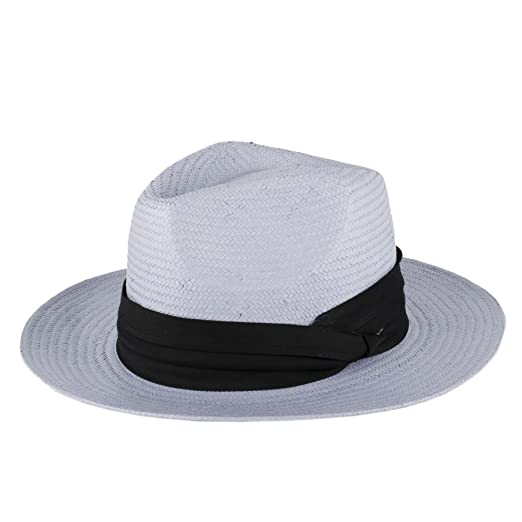 89da1ffe7bb Amazon.com  Straw Style Summer Fedora Hat (Light Blue)  Clothing