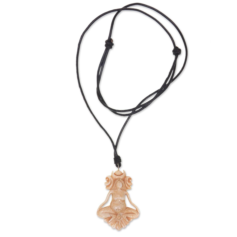 13.5 Serene Meditation NOVICA Leather Cow Bone Pendant Necklace