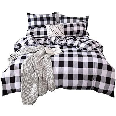 CoutureBridal Kids Boys Black and White Buffalo Check Gingham Bedding Set Twin Size Grey Plaid Duvet Cover Sets 3 Pieces Soft Breathable Microfiber Geometric Quilt Cover with Pillowcases…: Home & Kitchen