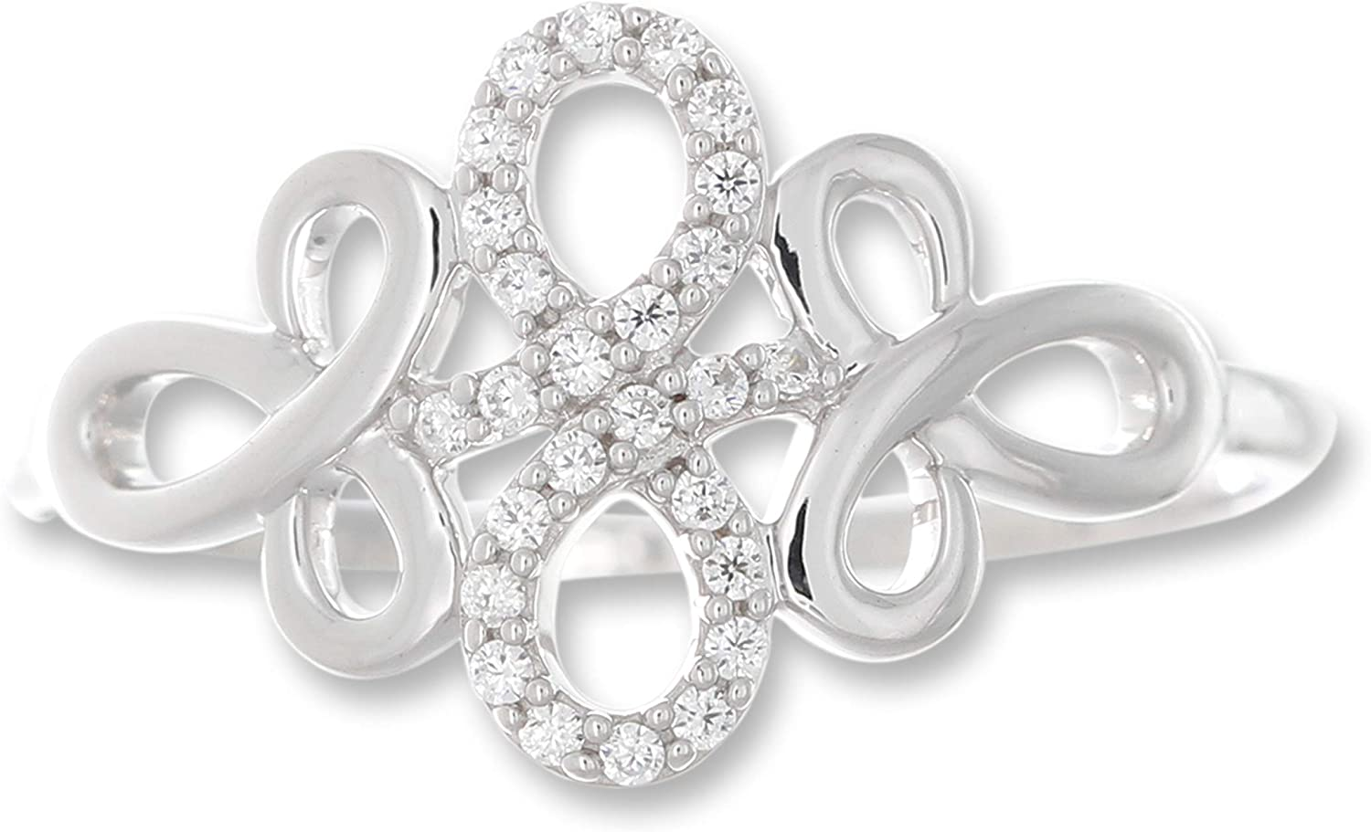 1//10 Cttw Diamond Floral Knot Ring in 10K White Gold