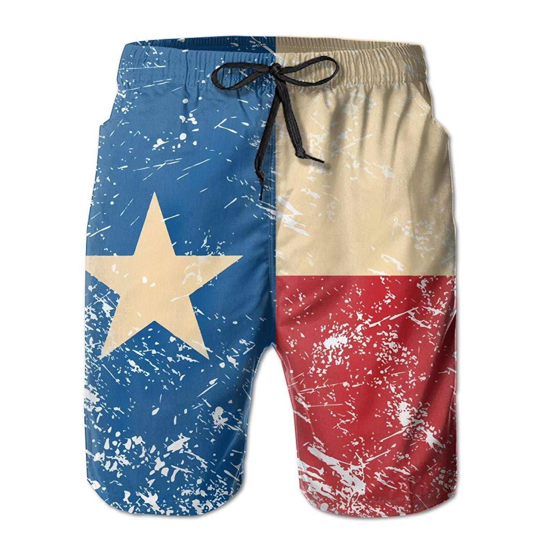 Mens Texas Retro Flag Summer Breathable Swim Trunks Beach Shorts Board Shorts Large