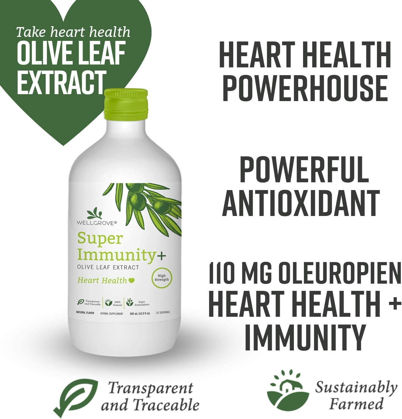 WellGrove Super Immunity Olive Leaf Extract with Heart Health All Natural Vegan Antioxidant Dietary Supplement Promotes Immunity and Cardiovascular Health Organic Non-GMO Natural 500mL