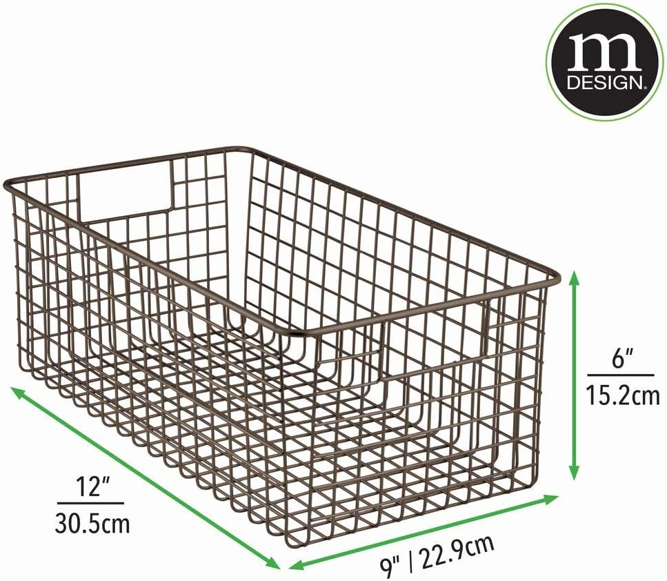 a mDesign boite de rangement en fil de fer avec poign/ées int/égr/ées lot de 2 petite caisse de rangement au design /él/égant boite de rangement salle de bain id/éale pour les cosm/étiques
