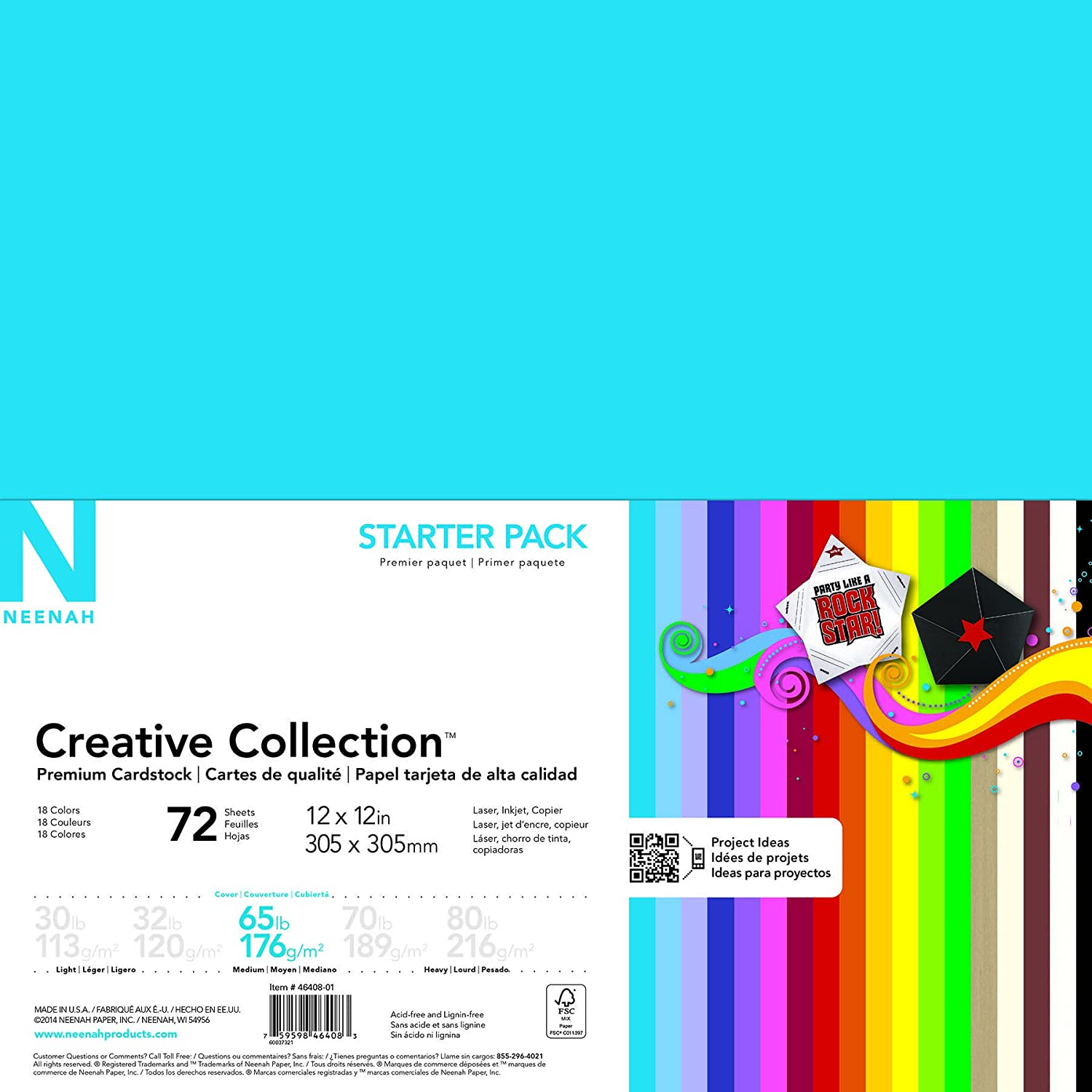 Neenah Creative Collection Specialty Cardstock Starter Kit, 12 x 12, 65 lb, 18-Color Assortment, 72 Sheets (46408-02) 12 x 12 Wausau Paper