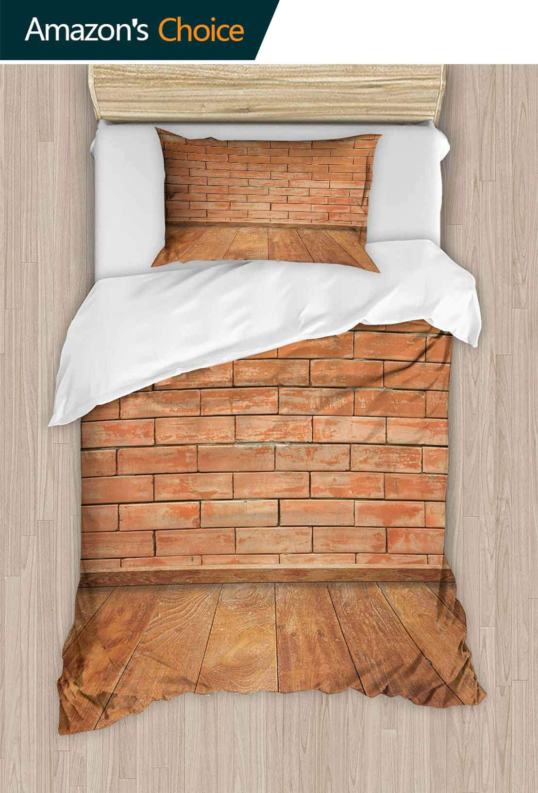PRUNUSHOME Polyester Bedding Concrete Brick Walls and Wood Floor for Text and Background.Copy Space Ultra Soft Hypoallergenic Full