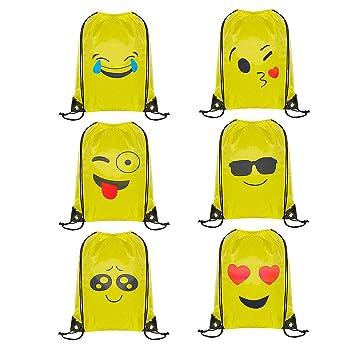 WOLINTEK Emoji Bolsas de Cuerdas - 6 x Emoji Mochilas Petates Infantiles para niños y niñas Cumpleaños Regalos Invitados de Bodas Comuniones