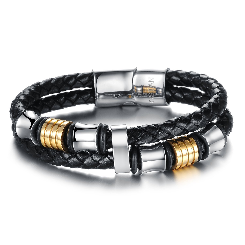 Amazon.com: Ostan Mens Bracelet Men\'s Braided Leather Bracelet ...