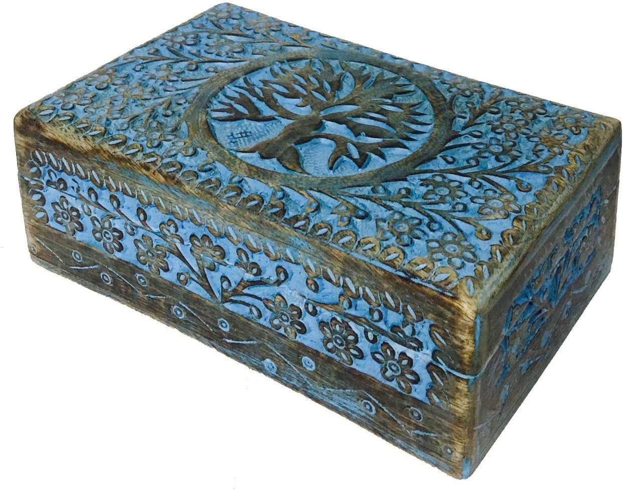 Earthly Home Vintage Worn Blue Wooden Keepsake Jewellery Box with Hinged Lid, Decorative Tree Engraved Box, Trinket Box for Ladies, Jewellery Storage Box, Handcrafted-Home Decor Accessories