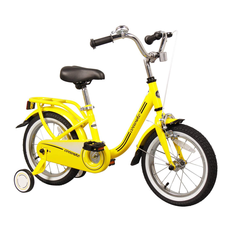 COEWSKE Kid's Bike Steel Frame Children Bicycle 14-16 Inch with Training Wheel (Yellow, 14 Inch)