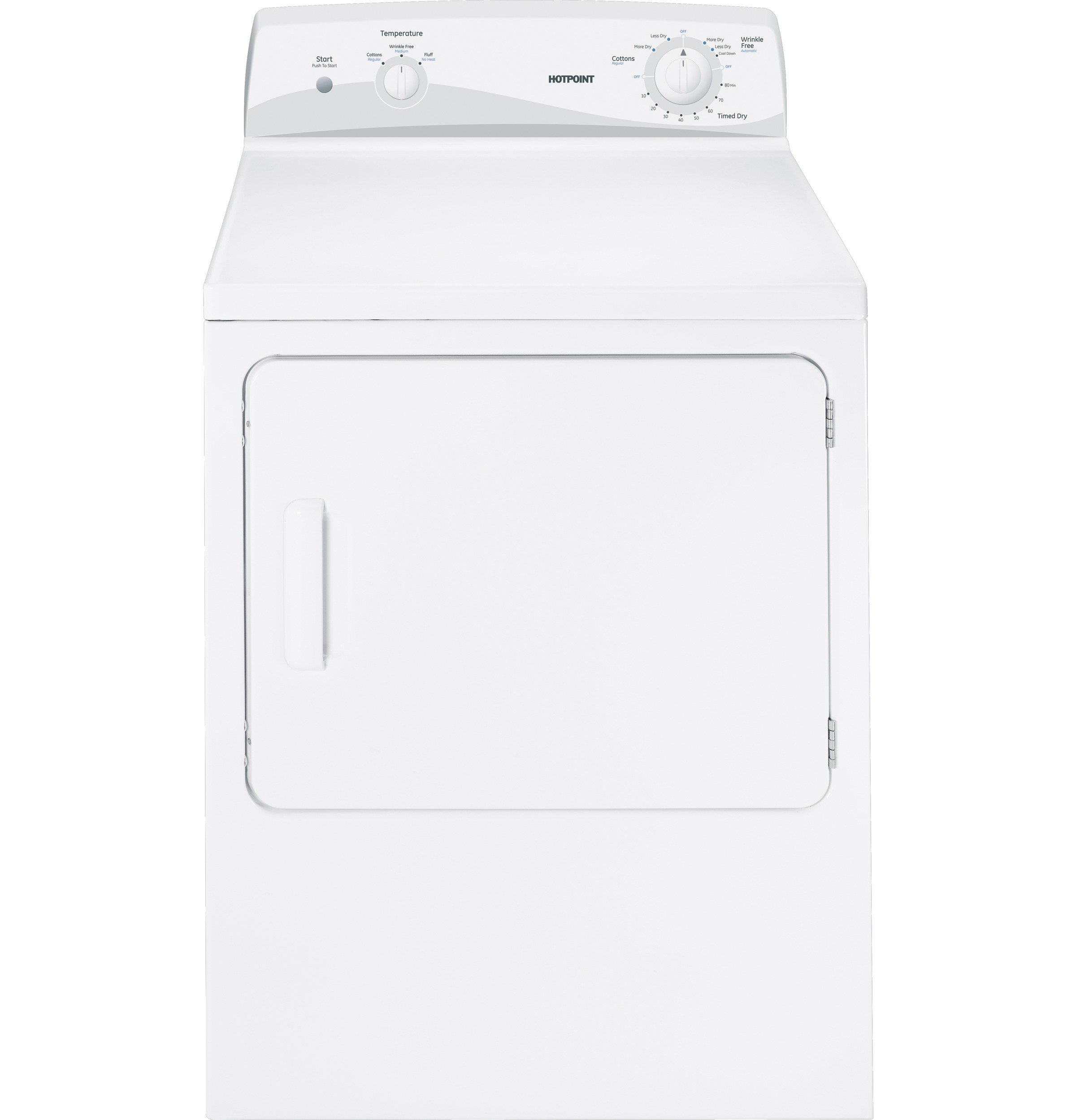 HOTPOINT WASHERS & DRYERS 294169 6 Cu.ft. Gas Dryer, White, 4 Cycles, Reversible Door