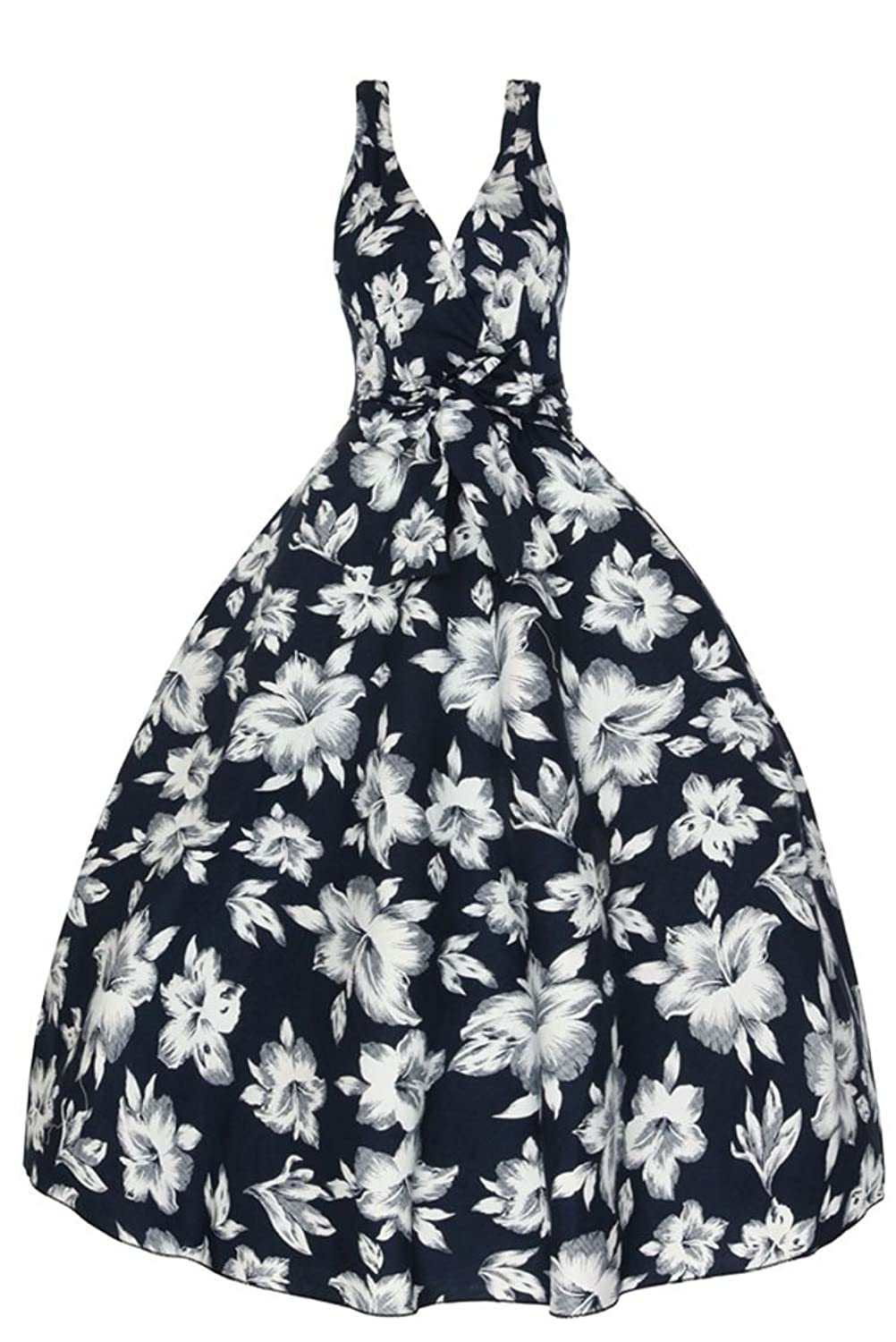 Ladies 1950's Retro Vintage Swing Party Floral Party Swing Dress