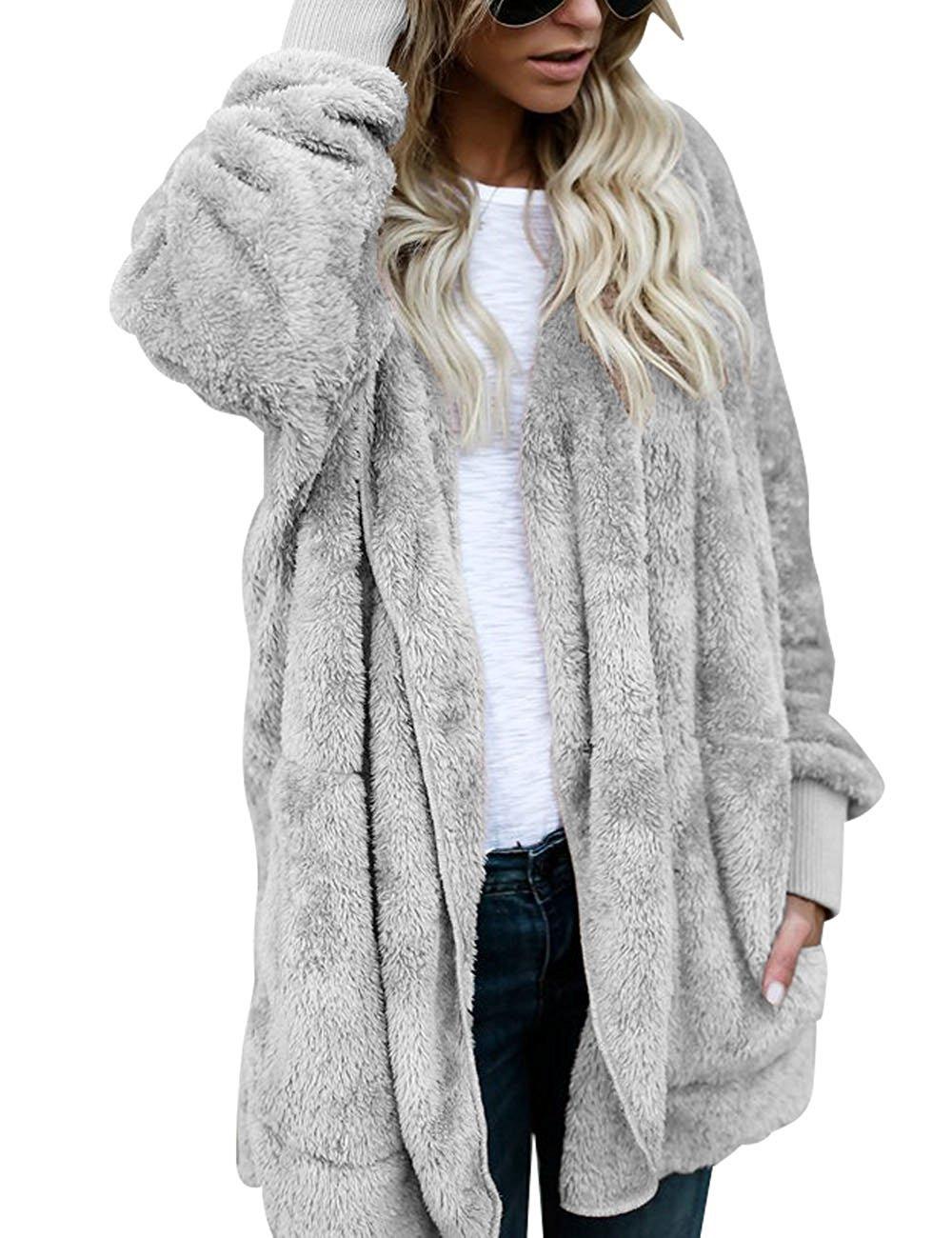 ThusFar Fuzzy Fleece Open Front Hooded Cardigan Jacket Coat Outwear with Pocket for Women Grey M