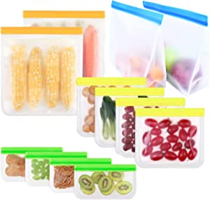 Cavogue Reusable Food Storage Bags - 12 Pack Reusable Sandwich Leftovers Snacks Bags, Leakproof Colorful Resealable Ziplock Bags for Freezer Organization and Storage